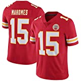 HOUWENJ Mahomes Youth American Football Jersey # 15, Chiěfs Mahomes # 15 Jersey Rugby Enfants, Maillot De Rugby Classique À Manches Courtes en Plein Air Unisexe Red-M