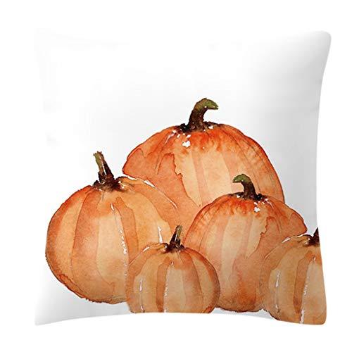 Huwaioury Herbst Dekorationen Aquarell Kürbis bedruckt Taille Überwurf Kissenbezug Pfirsich-Samt Kissenbezug für Halloween Thanksgiving Day h