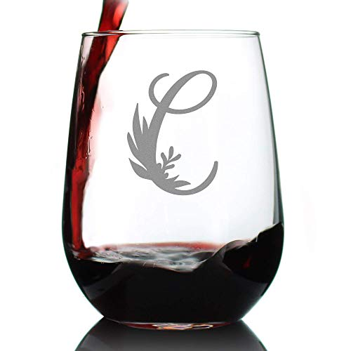 Monogram Floral Letter C - Stemless Wine Glass - Personalized Gifts for Women and Men - Large Engraved Glasses