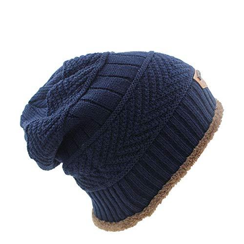 Bonnet Unisexe Chapeau tricoté Homme Beanie Hats, Mode Tricot Unisexe Hommes Chapeau Hiver Chaud Casquettes Skullies pour Femmes Beanie Casquettes De Neige @ Bleu
