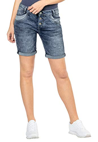 Sublevel Damen Jeans Bermuda Shorts mit Destroyed Parts Middle-Blue L