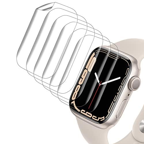 VASG [8 Stück] Schutzfolie Kompatibel mit Apple Watch Series 7 41mm & Apple Watch Series 6/5/4/SE 40mm Klar HD Weich TPU Folie Nicht Glas Blasenfreie Bildschirmschutz