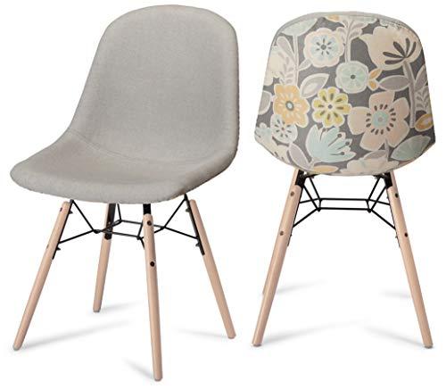 Ibbe Design 2er Set Gelb Grau Bunt Esszimmerstühle Blumenmuster Skandinavisch Retro Polsterstuhl Waren, Natur Massivholzbeinen, L47xB57xH97 cm