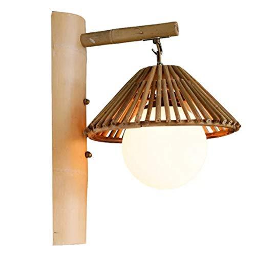 YBright Lámpara de pared japonés retro Base de bambú tejido de la pared de luz con sombra Bola de cristal cubierta simple iluminación antiguo E27 lámpara de pared for el dormitorio sala de estar Corre