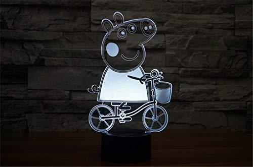 YAOYUNZI Peppa Pig 3D Luz De Noche Para Niños Con Lámpara De Decoración Que Cambia De 16 Colores Con Control Remoto Regalos De Cumpleaños Para Habitación De Niños