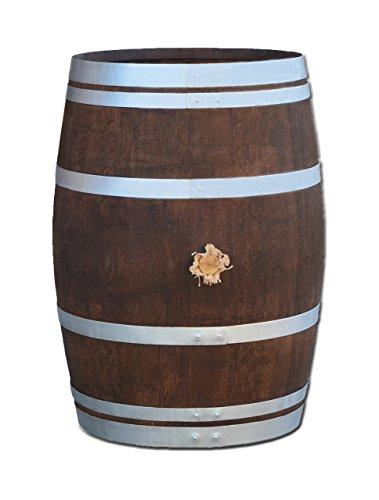 Temesso Stehtisch aus Weinfass, Dekofass, Gartentisch aus Holzfass - Fass geschliffen und dunkel palisanderfarben lasiert mit silbernen Ringen