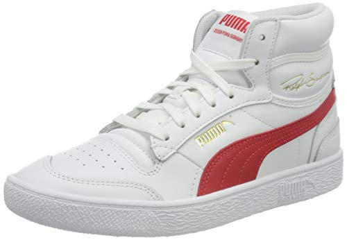 PUMA Ralph Sampson Mid, Zapatillas Unisex Adulto, Blanco White/High Risk Red, 42.5 EU