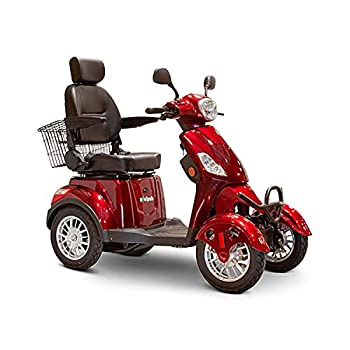 EWheels EW-46 4-Wheel 3-Speed Lightweight Travel Electric Battery-Powered Medical Mobility Scooter with Adjustable Seat and Rear Basket Red