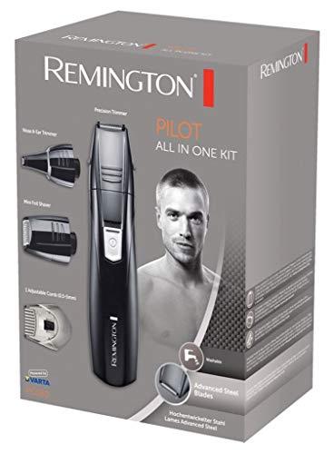 Remington Grooming Kit PG180 - Set Máquina de Afeitar, 3 Cabezales y 1 Peine, Cuchillas Acero Avanzado, Negro, Accesorios Barba, Bigote, Patillas, Nariz y Orejas
