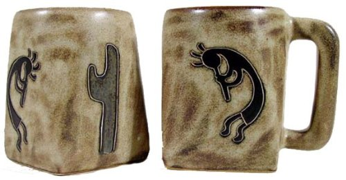 Set Of Two (2) MARA STONEWARE COLLECTION - 12 Oz Coffee Cup Collectible Square Mugs - Native American Kokopelli