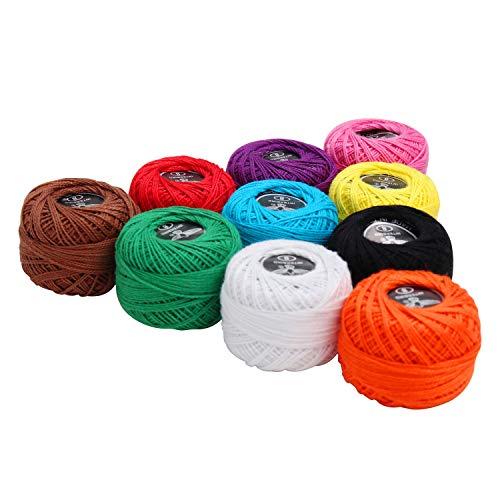 Kurtzy Hilo para Ganchillo (10 Piezas) - 5 gramos, 47 metros por Bola de Hilo de algodón, Talla 8 - Surtidos colores Hilo de ganchillo para Ganchillo proyectos y Apliques