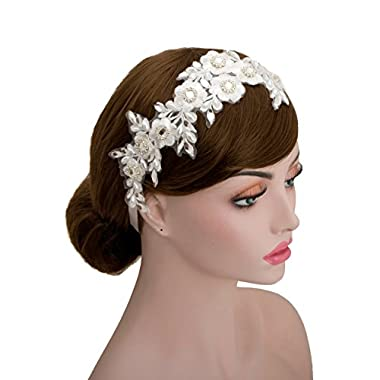 Vintage Bridal Rhinestone Flower Lace Faux Pearls Wedding Headpiece Ribbon Hair Accessories (White Ribbon)