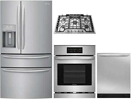 "Frigidaire 4 Piece Kitchen Appliance Package with FG4H2272UF 36"" French Door Refrigerator FFEW2426US 24"" Electric Single Wall Oven FGGC3047QS 30"" Gas Cooktop and FGID2466QF 24"" Built In Fully Integrated Dishwasher in Stainless Steel"