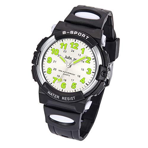 Juboos Kinderuhr Jungen Mädchen Analog Quartz Uhr mit Armbanduhr Gummi Wasserdicht Outdoor Sports Uhren-JU-001(Schwarz)
