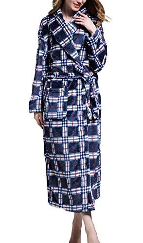 comefohome Bademantel Herren Damen, Morgenmantel Winter Flanell Nachtwäsche Verdickt Saunamantel Pyjama Spa Nightwear Schlafrock Kariertes Blau L