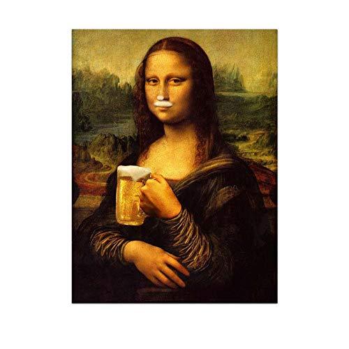Estilo nórdico Minimalismo Mona Lisa Poster Arte de la pared Impresiones en lienzo Cerveza Pintura Cuadros modulares Sala de estar Decoración moderna para el hogar Sin marco-40x50cm