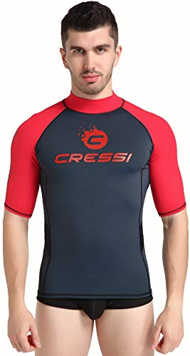 Cressi Unisex– Erwachsene Hydro Men'S Premium S.Sleeves Rash Guard Kurze Ärmel aus elastischem Stoff Mann UV-Schutz (UPF) 50+, Schwarz/Rot, XXXL