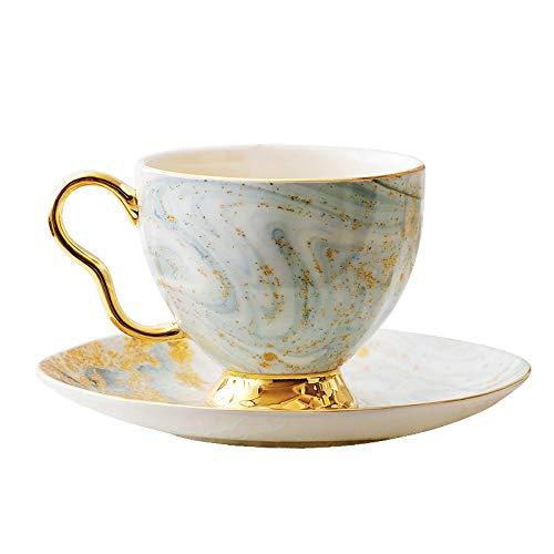 kerryshop Tazas para niños Estilo Europeo de escasa Lujo de Gama Alta Bone China Taza y platillo de cerámica Conjunto Inglés Flor Taza de té de la Tarde 200 Ml Juego de té Taza de té