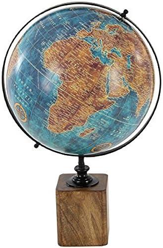 Deco 79 nststoff und Mango Holz Dekorative Globus, blau braun Schwarz 30,5cm D x 35,6cm W x 50,8  H