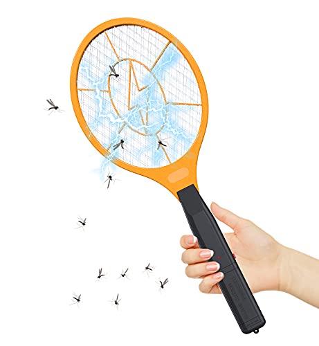 Racchetta Zanzare Elettrica Swatter Insetti Elettrico Giallo, per Uso Interno ed Esterno 2500 V