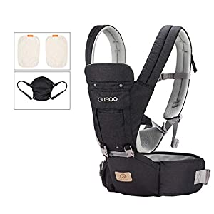GLISOO Ergonomic 360° Best Baby Soft Carrier, Comfortable Adjustable Positions,Breastfeeding Fits All Newborn Toddler,HipSeat Infant and Backpack,All Seasons,Perfect for Hiking Shopping (Dark Gray)