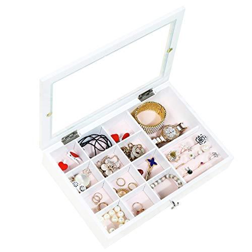 Dainty Joyero blanco Joyero para mujer con tapa de cristal, caja para joyas, caja para anillos, pendientes, pulseras, relojes, botones y perlas