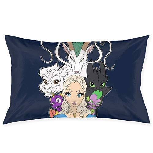 yantaiyu Throw Pillow Covers Daenerys Mother Of All Movie Dragons Hidden Zipper Anime Decorative 40X60Cm Unique Cozy Throw Pillow Case Cute Bed Room Standard Home Pillow Cover Gift Rectang