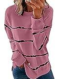 Biucly Womens Fashion Crewneck Tie Dye Sweatshirt Striped Printed Oversized Loose Soft Long Sleeve Fall Pullover Tops Shirts Hoodies & Sweatshirts for Women,US 12-14(L),Pink