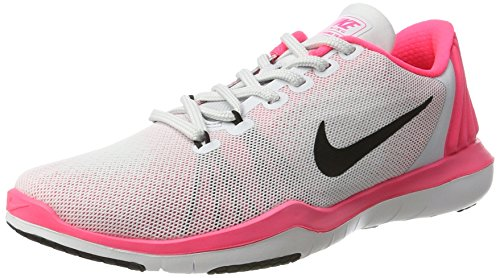 Nike Damen WMNS Flex Supreme Tr 5 Trainer, Mehrfarbig (Pure Platinum/Black/Racer Pink/Wolf Grey), 37.5 EU