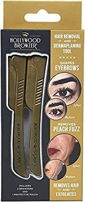 Hollywood Browzer with Protective Pouch for Eyebrow Shaping, Removing Unwanted Hair and Dermaplaning/Exfoliation (Pack of 2) Made of German Stainless Steel Duo Gold