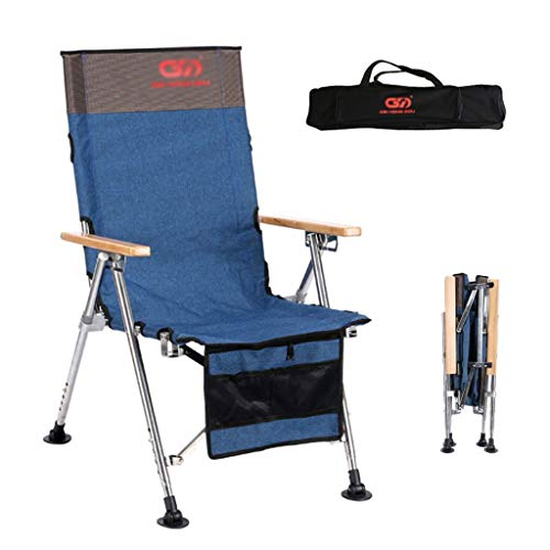 Portable Camping Stoel/RVS Vissen Stoel/Opvouwbare Strand Stoel/Ultra Light Reclining Outdoor Leisure Chair (Color : Blue, Size : 51 * 65 * 48cm)