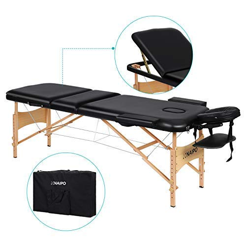 Naipo Portable Massage Table Professional Adjustable Folding Bed with 3Sections Wooden Frame Ergonomic Headrest and Carrying Bag for Therapy Tattoo Salon Spa Facial Treatment