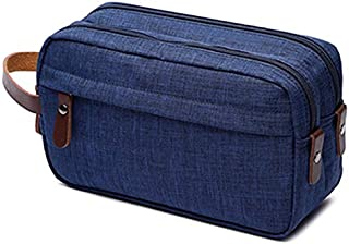 SODIAL Blue Makeup case Travel Canvas Cosmetic Makeup Organizer Women Toiletry Bag Beautician Beauty Case Men Makeup Bag