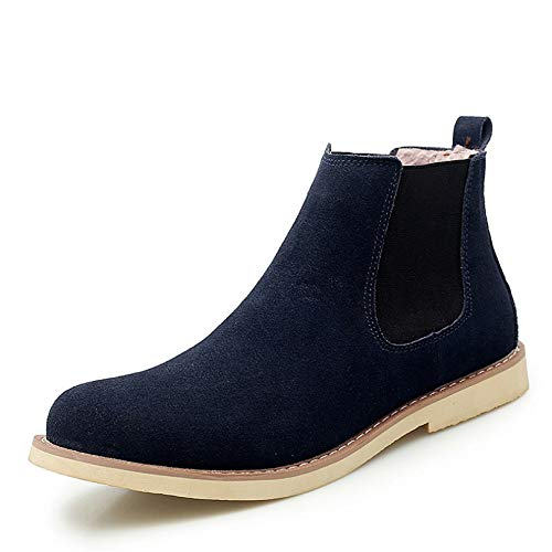 Men Chelsea Boots Solid Color Suede Leather Durable Slip-On Autumn Winter Ankle Boots Flat Anti-Skid Daily Work Vintage Leather Boots Blue