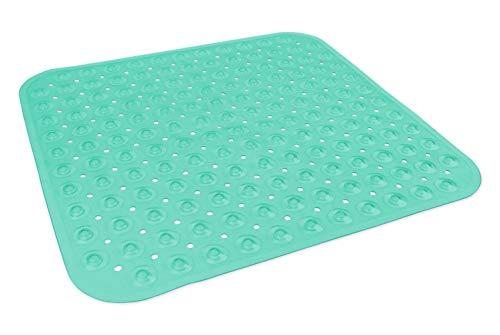 DII Badewannenmatte aus Vinyl, rutschfest, transparent, mit Saugnapf, 15 x 70 cm Square blaugrün