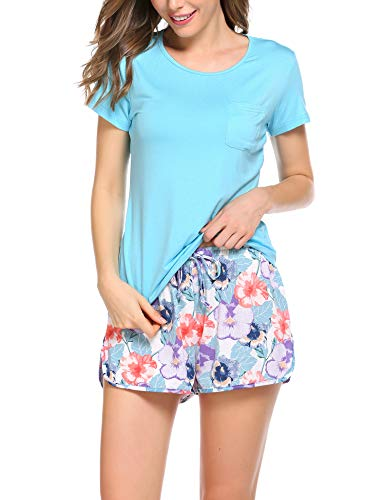 Ekouaer Sleepwear Womens Pajamas Pants Sets O-Neck Short Sleeve Sleepwear Soft Pj Sets Solid Top Pjs with Floral Shorts(Light Blue,Large)