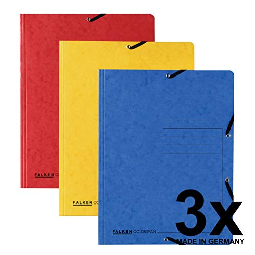 Falken 3er Pack Premium Einschlagmappe. Das Original - Made in Germany. Aus extra starkem Colorspan-Karton mit 3 Innenklappen DIN A4 mit 2 Gummizügen farbig sortiert Sammelmappe Dokumentenmappe