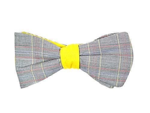 Handgenähte Herren Anzug - Fliege gelb/grau/Schleife zum Selbstbinden - Selbstbinder - Querbinder: Sole a scacchi