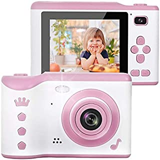 AMERTEER Kids Camera, 8.0MP Creative Digital Dual Camera, Rechargeable Children Camcorder with 2.8'' Touch Screen, 4X Digital Zoom, Gift for 3-12 Years Old Girls Boys Party Outdoor (pink)