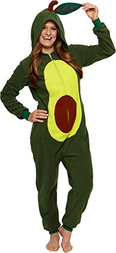 Silver Lilly Avocado One Piece Costume - Unisex Adult Plush Novelty Food Pajamas (Small) Green
