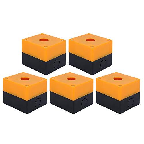Alinory Notfall 5 Stück Gelb BX1-22 Steuerkasten, Korrosionsschutz-22-mm-Schaltknopfkasten, Projektstromversorgungsausrüstung für elektronische Projektverstärker