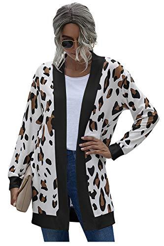 Landove Cardigan Mujer Otoño Invierno Vintage Tartan Abrigo Estampado Animal Leopardo Navidad Reno Cuadros Rayas Blazer Manga Larga Chaqueta Sin Botones Anorak Talla Grande Jaqueta Adolescente Jacket