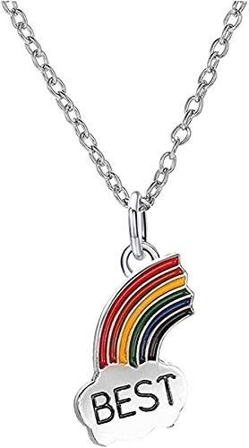BEISUOSIBYW Co.,Ltd Collar Best Friends Rainbow Collares Mujeres Joyería Mujeres Collar Cadena Colgante Mujeres Color Plata Capaz