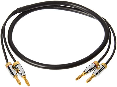 Amazon Basics Speaker Cable Wire with Gold-Plated Banana Tip Plugs - CL2 - 99.9% Oxygen Free - 3-Foot