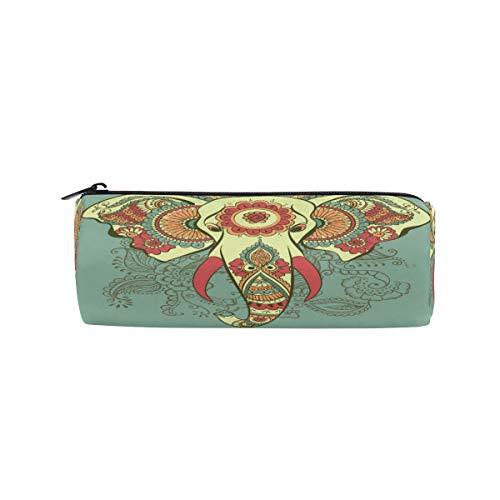 iRoad zylindrische Federmappe Boho Ethno Elefant Lotus Schreibwaren Aufbewahrungstasche Tasche mit Reißverschluss Federmäppchen für Teenager Mädchen Jungen Schule
