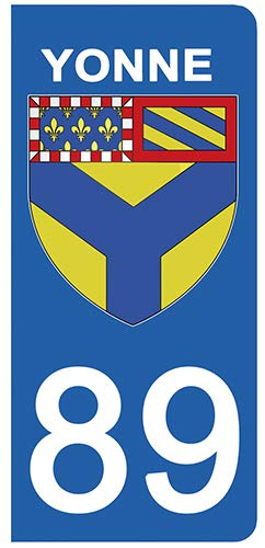 DECO-IDEES 2 Stickers pour Plaque d'immatriculation - 89 - Blason YONNE- Stickers Garanti 5 Ans