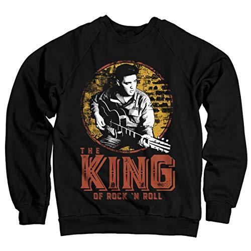 Elvis Presley Oficialmente Licenciado The King of Rock 'n Roll Sudaderas (Negro)
