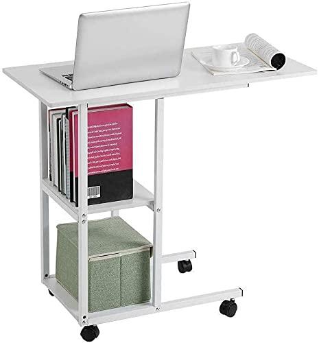 QIANMEI Mesa Auxiliar mesas Mesa de portátil para sofá/Cama | Mesa Auxiliar portátil y móvil con Estante de Almacenamiento | para Personas Mayores, Uso para Comidas, Trabajo y Actividades.