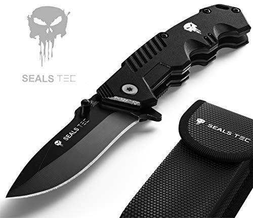sealstec® Original Full Metal S22 8,5cm Klinge mit Tasche | Klappmesser - Zweihandmesser | Camping - Jagd - Outdoor - Survival - Messer | extra scharf | Modell S22 Standard