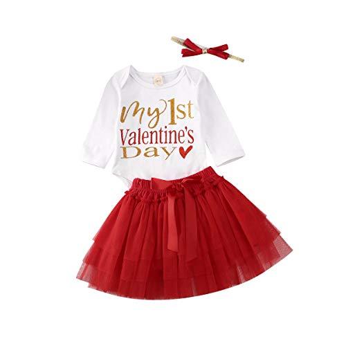 Muasaaluxi Conjunto de 3 piezas de body de manga corta + tutú de tul rojo + banda para bebé Valentine 's Day My First Valentine's Day 0-3 Meses
